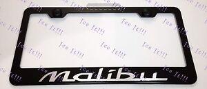 Chevrolet Chevy MALIBU Laser Style Stainless Steel Black License Plate Frame Cap