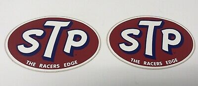 """Pair of Vintage STP """"THE RACERS EDGE"""" Stickers - New Old Stock"""