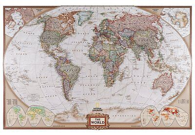 Antique Political World Map Projection of The Earth Wall Mural