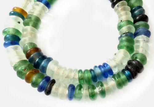 Handmade Mixed Ghana disk Krobo Recycled Glass African trade beads