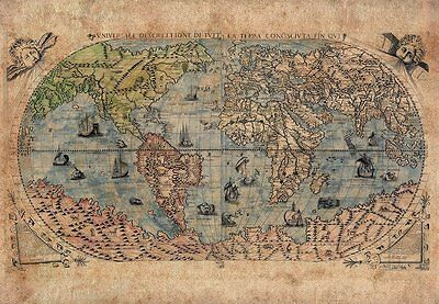 Antique Map of The World With Sea Monster Illustrations