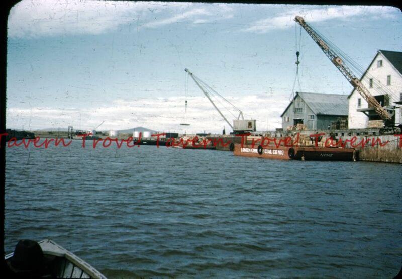 1950s ALASKA Nome Lomen Commercial Co. Crane Loading a Barge 35mm Slide c265