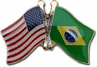 USA American Brazil Country Friendship Flag Bike Motorcycle Hat Cap lapel Pin Brazil Country Flag