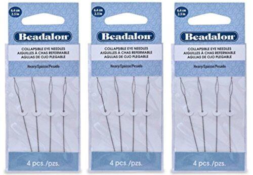 12 Beadalon Collapsible Eye Needles 2.5 Heavy (3 Packs) BPCENDHVY-3PCK