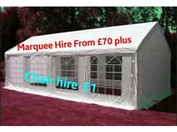 Marquee/Gazebo/Tent for hire from £70 plus. Folding Chair hire £1