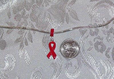 RED COLOR RIBBON AIDS HIV HEART DISEASE AWARENESS DANGLE EUROPEAN BRACELET CHARM - Hiv Ribbon
