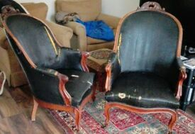 Antique pair of arm chairs mid 19th century with original black horse hair upolstery