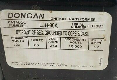 Dongan Ignition Transformer Ljh-90a 120v Nos Missing Cover