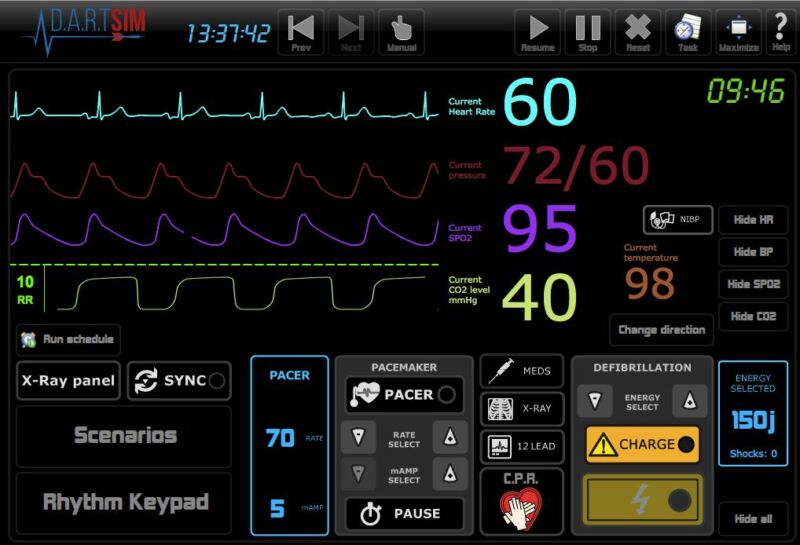 ECG Simulator 25 rhythms, Simulate 12Lead,X-Rays,PACING,SYNC,D-fib,NIBP,CO2,SPO2