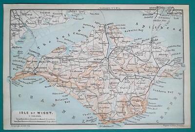 1897 BAEDEKER MAP - UNITED KINGDON Isle of Wight & Dorking Guildford Environs