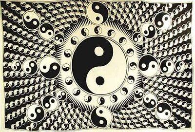 Huge 6' X 9' Tie Dye Yin Yang Tapestry Blanket Bedspread Wall Hanging