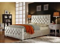 Crushed Velvet Fabric Upholstered Chesterfield Style bed frame Double 3ft 4ft order now
