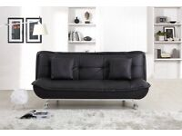 LEATHER SOFA BED BLACK ONLY £175 RRP £350