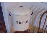 Vintage Enamel Bread Bin with Lid