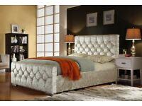 BEST SELLING BRAND EVER-- BRAND NEW CHESTERFIELD CRUSHED VELVET BED FRAME 4FT6 DOUBLE 5FT KING