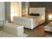BRAND NEW SLEIGH DESIGNER CRUSH VELVET DOUBLE BED ALL SIZE AVAILABLE SINGLE KINGIZE