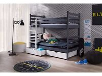 BUNK BEDS WHITE QUALITY WOODEN CHILDRENS WITH MATTRESSES AND STORAGE DRAWERS