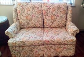 2 x Two seater sofas, floral linen. FREE for collection
