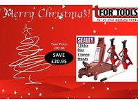 Sealey 1153CX Trolley Jack 3 TONNE + 3 TON AXLE STANDS