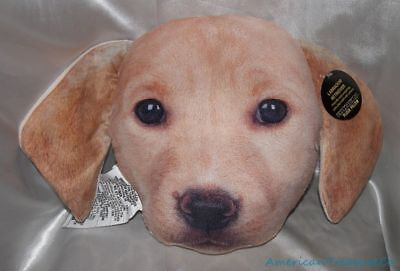 """NEW Plush 14"""" Realistic Golden Retriever Yellow Lab Puppy Dog Face Throw Pillow for sale  Shipping to Canada"""
