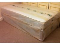 ***New*** Complete Single Divan Bed with Mattress and Headboard