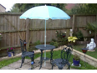 Garden umbrella. Light blue. Good for table or stand-alone.