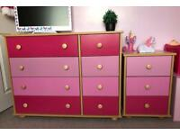 PINK DRAWERS 4+4 AND 3 DRAWER BEDSIDE TABLE