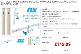 OX Tools Brick Laying Building Profiles 1.8M + 2 x PRO 330MM SLIDING CLAMP