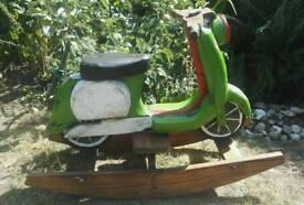 Childs wooden scooter rocker