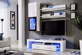 Wall unit Lucy / Free LED !!! / TV stand / Living room furniture / High gloss