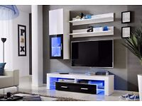 Wall unit Lusi / Free LED !!! / TV stand / Living room furniture / High gloss