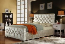 BLACK CHAMPAGNE & SILVER-NEW DOUBLE CHESTERFIELD BED WITH COMFORTABLE MATTRESS == KINGSIZE AVAILABLE