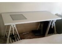 Table with glass window for art work 2 Adjustable Trestle with shelf and under light