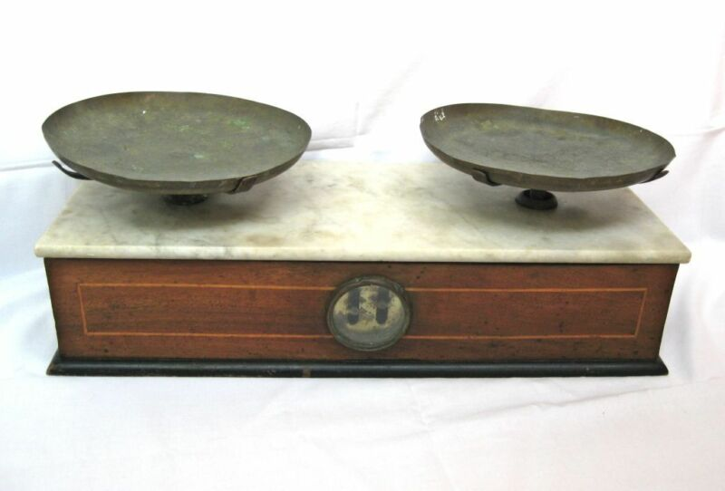 Antique Vintage Scale Balance Marble & Wood Apothecary