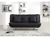 SALE BLACK LEATHER SOFA BED ONLY £175