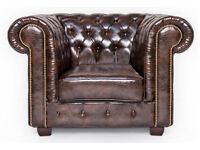 Stunning bonded leather brown Chesterfield armchair - NEW