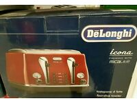 Delonghi Icona Red 4 slice toaster - Brand new