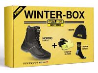 BRAND NEW THERMAL LINED SAFETY BOOTS FULL S3 SIDE ZIPPED AND FREE GLOVES WITH EVERY PAIR PURCHASED
