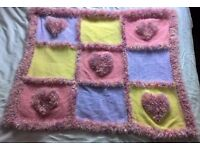 Brand New Hand Knitted Blanket In DK & Funky Wool Approx 100cm x 110cm Knitted By Myself £50