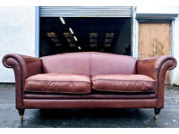 Laura Ashley antique brown leather 2.5 seater sofa DELIVERY AVAILALBE