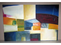 Picture painting oil on canvas stretched on frame Abstract Shapes 3ft x 2ft unknown artist