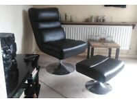 Argos Costa Faux Leather Swivel Chair And Footstool in black. RRP £180
