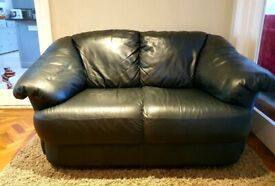 2 seater genuine black leather sofa DELIVERY INCLUDED