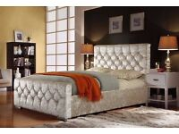 DOUBLE DIVAN BED CHESTERFIELD SLEIGH STYLE UPHOLSTERED DESIGNER BED FRAME CRUSHED VELVET SALE !!!