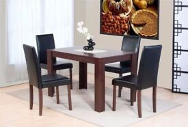 Dove Dining Set with 4 Chairs in Dark Brown - Brand New