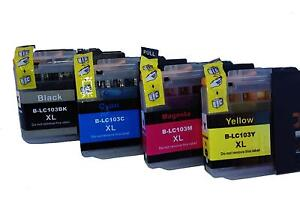 New 4 Pk PREMIUM Ink Set for Brother  LC 103xl BK/C/Y/M
