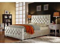 "❤◄High Quality Crushed Velvet Bed►❤ New Double / King Crushed Velvet Chesterfield Bed ""Opt Mattress"