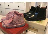 Pink Kickers and Black Start Rite Boots