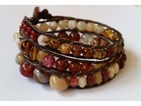 Triple wrap leather and bead bracelet, Bohemian wrap bracelet. Earth tones, brown, rust, ivory