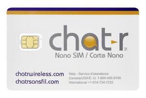 Carte Sim Chatr Fido Rogers Koodo sim card 8$